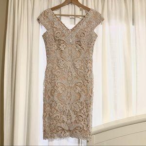 Tashi Shoji White & Blush/Nude Lace Overlay Dress